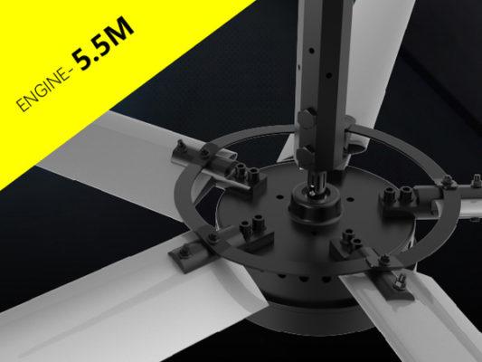 Quạt trần công nghiệp SHVLS Engine cánh dài 5,5 m